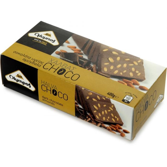 Halva ar tumšo šokolādi un mandelēm, OLYMPOS, 400g