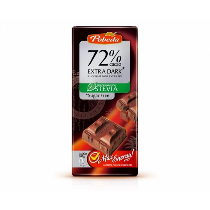 Tumšā šokolāde bez cukura ar stēviju, 100g