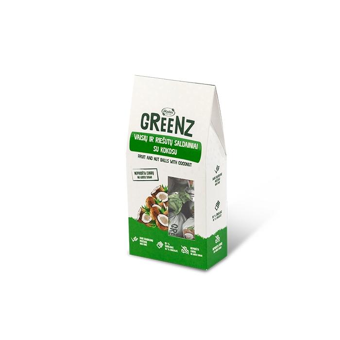Augļu un riekstu konfektes GREENZ ar kokosriekstiem 140g