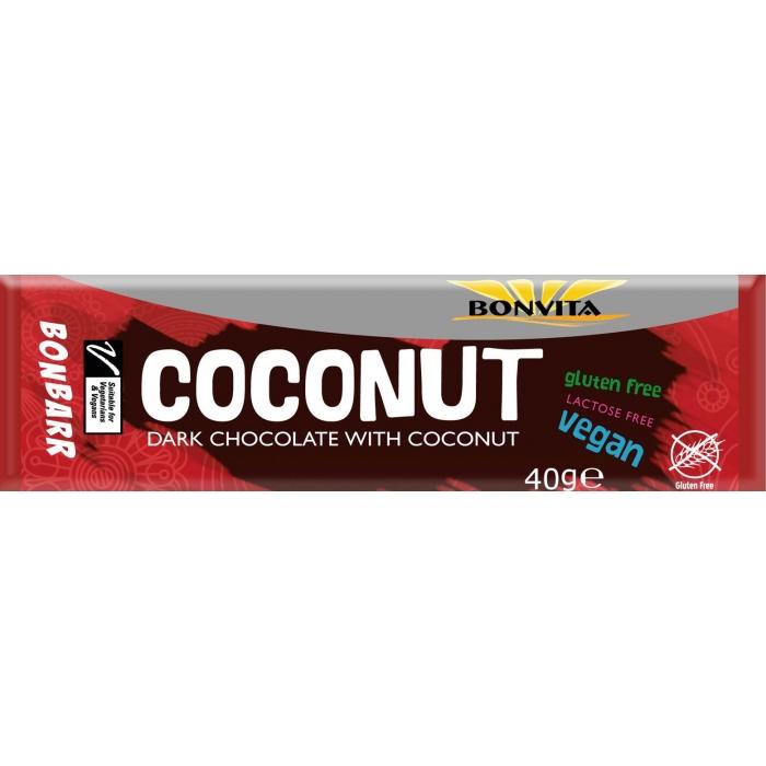 Kokosriekstu batoniņš ar tumšo šokolādi bez laktozes bezglutēna BIO 40 g