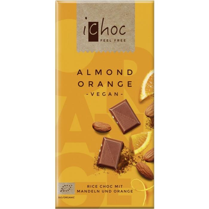 """Rīsu piena šokolāde """"Almond orange"""" BIO 80g"""