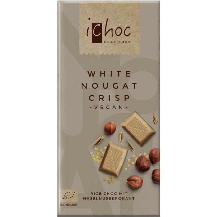 """Rīsu piena baltā šokolāde """"White Nougat Crisp"""" BIO 80g"""