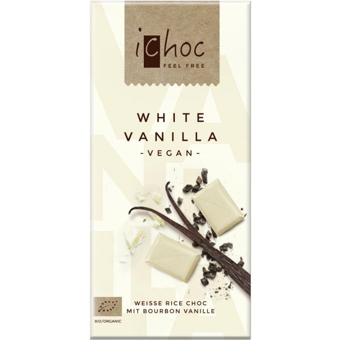 """Rīsu piena baltā šokolāde """"White Vanilla"""" BIO 80g"""